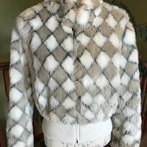 Faux fur Bomber Teddy jacket tan white black EUC